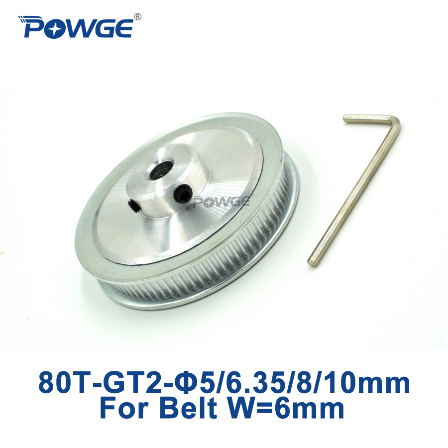 цена на POWGE 1pcs 80 Teeth GT2 Timing Pulley Bore 5mm 6.35mm 8mm 10mm for width 6mm GT2 Timing Belt 2GT pulley 80Teeth 80 tooth 80T