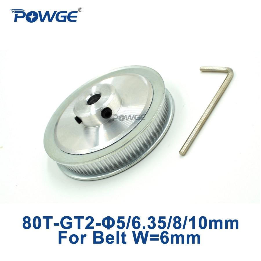 POWGE 1pcs 80 Teeth GT2 Timing Pulley Bore 5mm 6.35mm 8mm 10mm for width 6mm GT2 Timing Belt 2GT pulley 80Teeth 80 tooth 80T