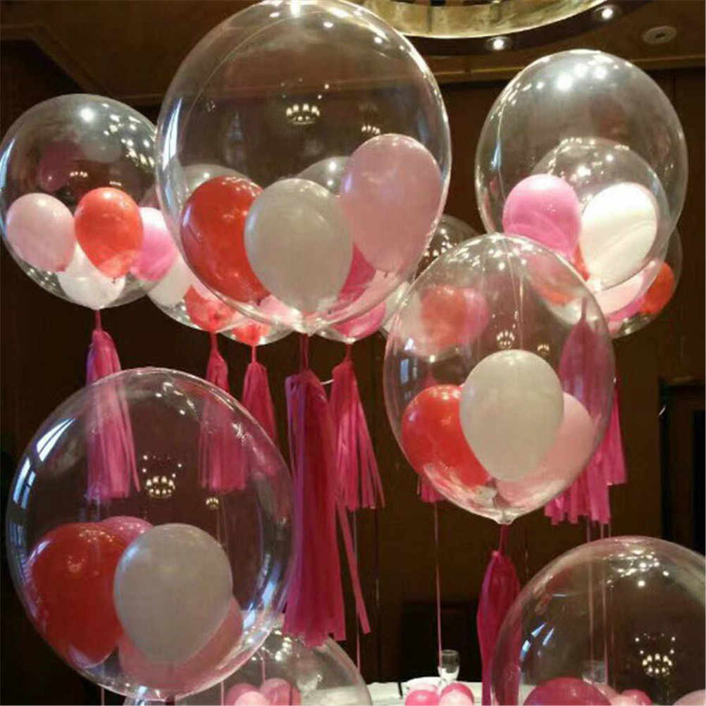2pcs Marriage Wedding Decor Helium Inflatable Balls Gifts Favor Eco-Friendly Transparent Clear Balloons