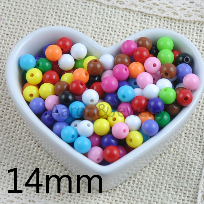 Blend candy Color  Acrylic Spacer Ball Round Beads Fit Jewelry Handmade 25pcs 14mm YKL0217-14X