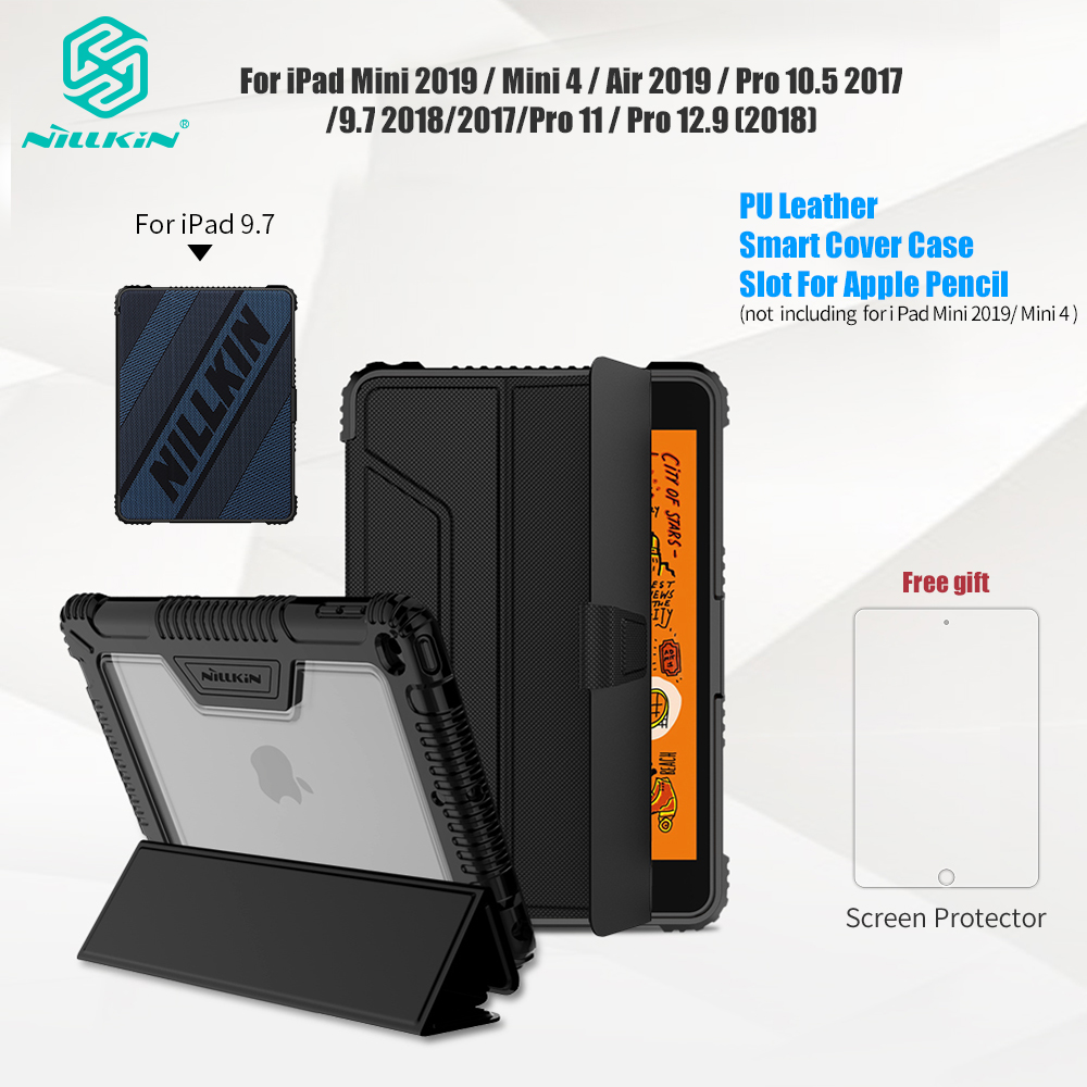 Étui intelligent Original en cuir PU Nillkin pour iPad Air 2019/Pro 10.5 2017/Mini 2019/Mini 4/9. 7/Pro 11/Pro 12.9 (2018)