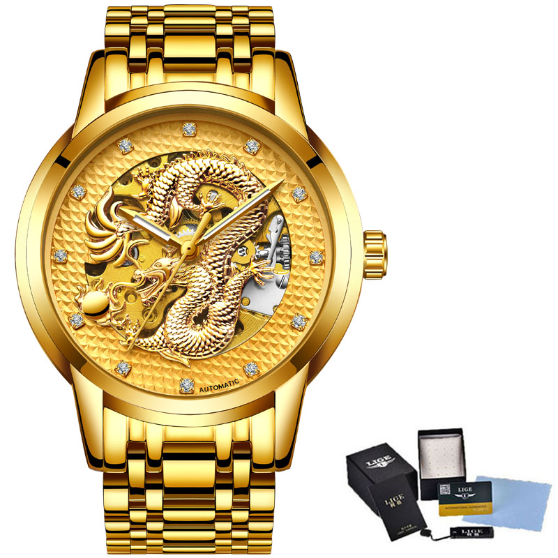 Relojes Hombre Dragon Skeleton Automatic Mechanical Men Wrist Watch Full Stainless Steel Strap Gold Clock Waterproof Men's watch relojes full stainless steel men s sprot watch black and white face vx42 movement