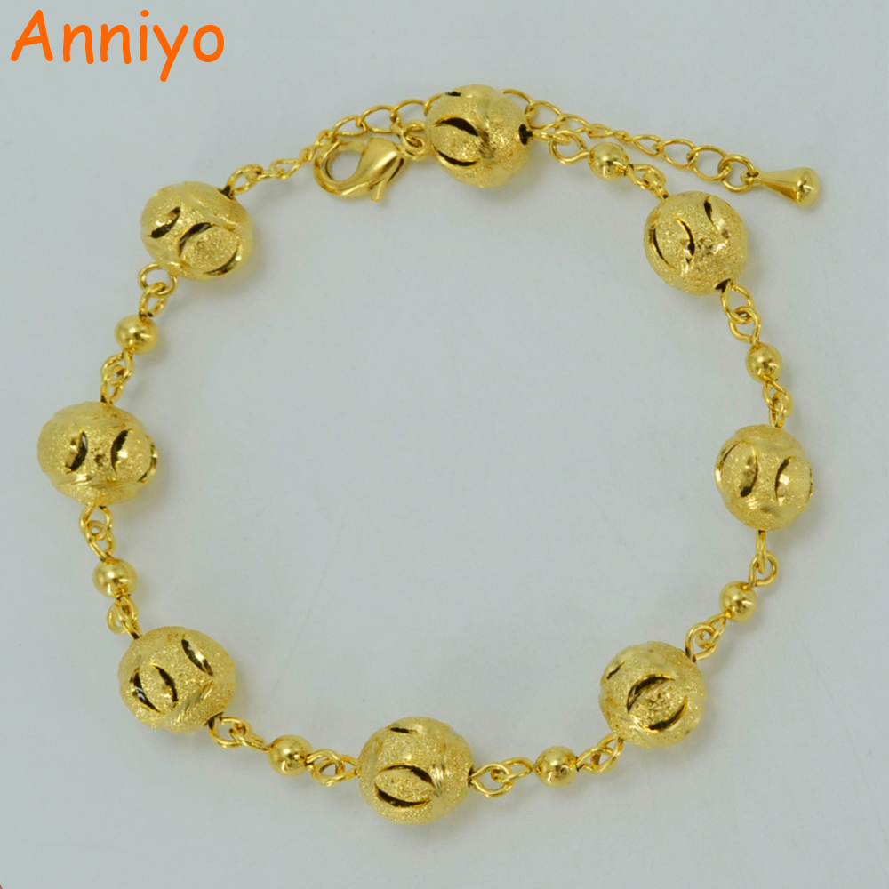 Anniyo Round Beads Bracelet Gold Color New Trendy Ball Chain for Women,Arab/Africa/Ethiopian Bangle #011102