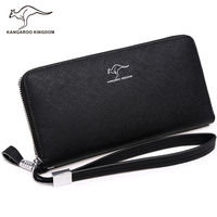 Kangaroo Kingdom Men Wallets Leather Long Purse Brand Men Clutch Wallet