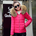 2016 Warm Faux Fur Collar Hooded Down Cotton Parka Coat Female Short Slim Winter Jacket Women Outerwear Casaco Feminino WUJ0861