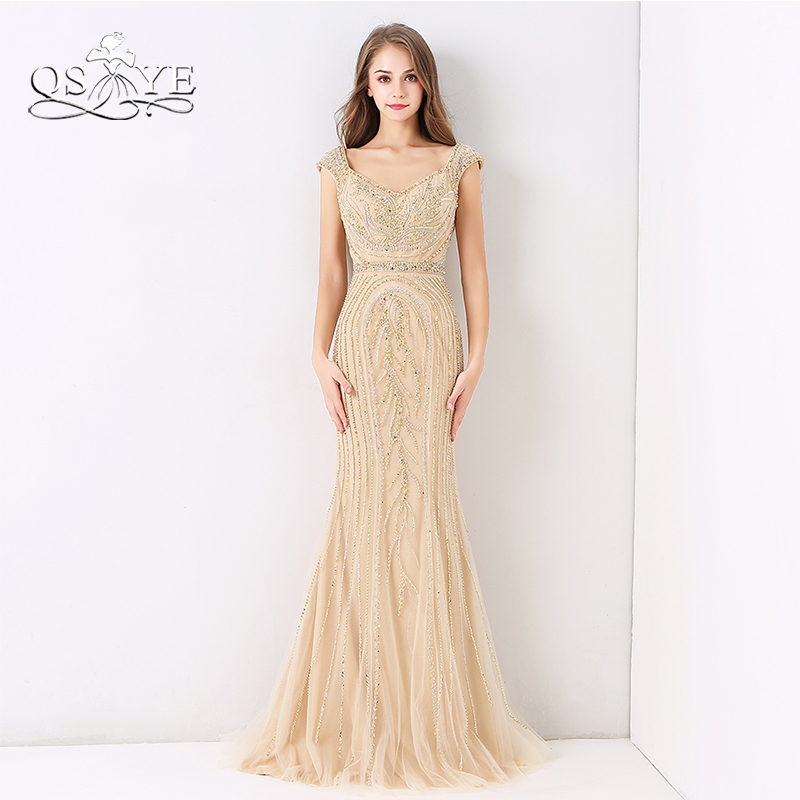 QSYYE 2018 Luxury Beaded Champagne Evening Dresses Mermaid Sleeveless Full Beading Floor Length Tulle Long Prom Dress Party Gown(China)