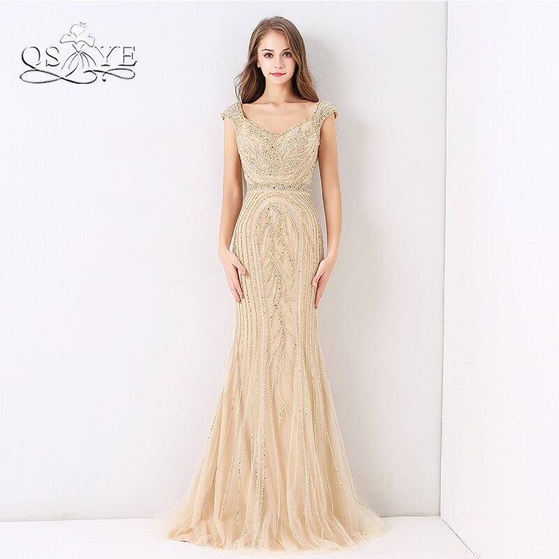 QSYYE 2018 Luxury Beaded Champagne   Evening     Dresses   Mermaid Sleeveless Full Beading Floor Length Tulle Long Prom   Dress   Party Gown