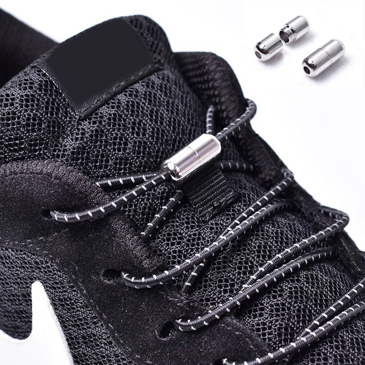 1Pair Reflective Elastic Shoelaces No Tie Shoe Laces Kids Adult Sneakers Quick Shoelace Round Shoe Laces Locking Lacet Chaussure