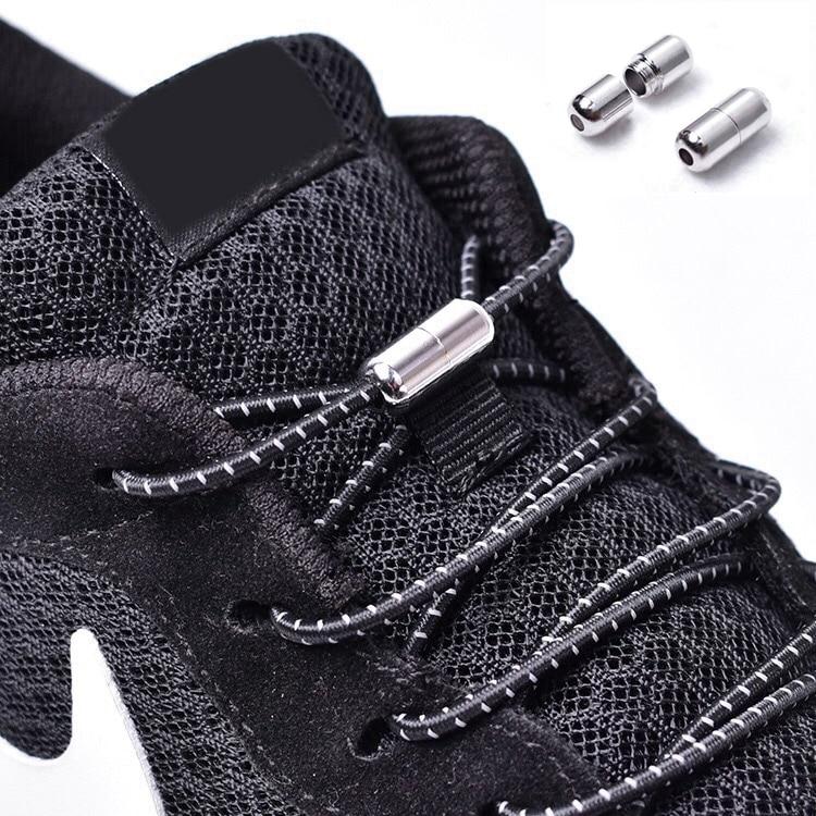 1Pair Reflective Elastic Shoelaces No Tie Shoe Laces Kids Adult Sneakers Quick Shoelace Round Shoe Laces Locking Lacet Chaussure