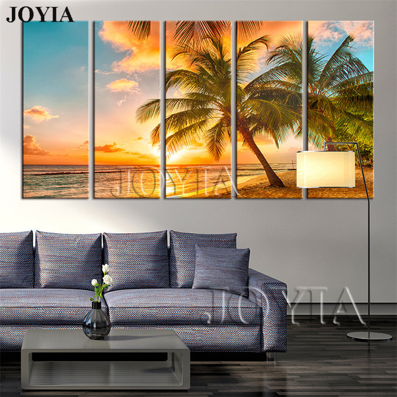 Large Wall Art Canvas Beach Coconut Tree Sunset On Ocean Canvas Painting Seascape Picture For Living Room Decor 5 Piece No Frame