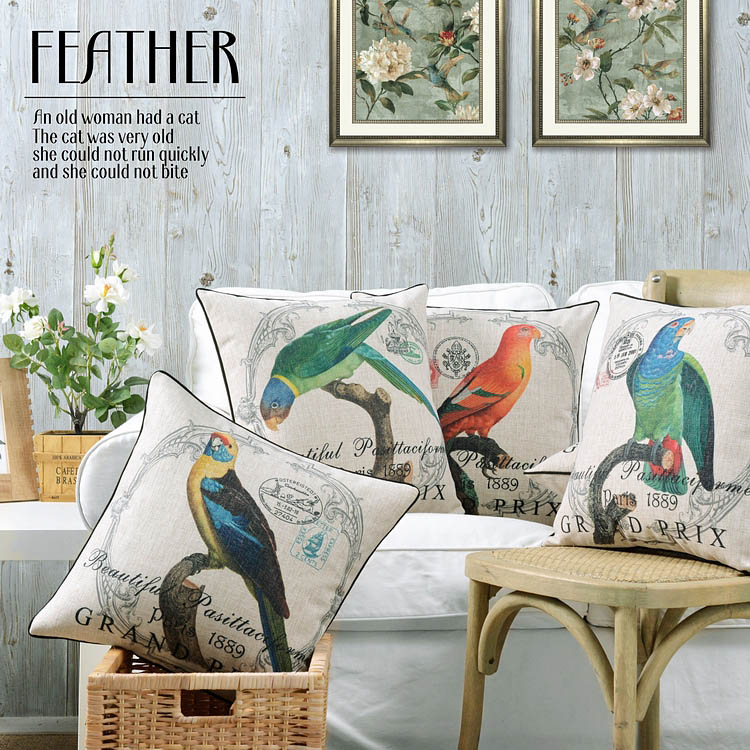 Flower Parrot Pillow Cushions European Floral Birds Pillows Thick Linen Pillowcase Sofa Lumbar Cushion Home Decorative Pillows