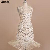 New Lady Party Dress Robe Femme 1920s Great Gatsby Flapper Sequin Fringe Embroidery Midi Dress Summer Art Deco Retro Black Dress