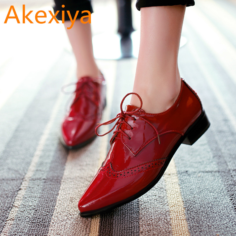 Akexiya Free Shipping Patent Leather Lace Up Neutral Low Heel Casual Oxfords Pointed Toe Ankle Women