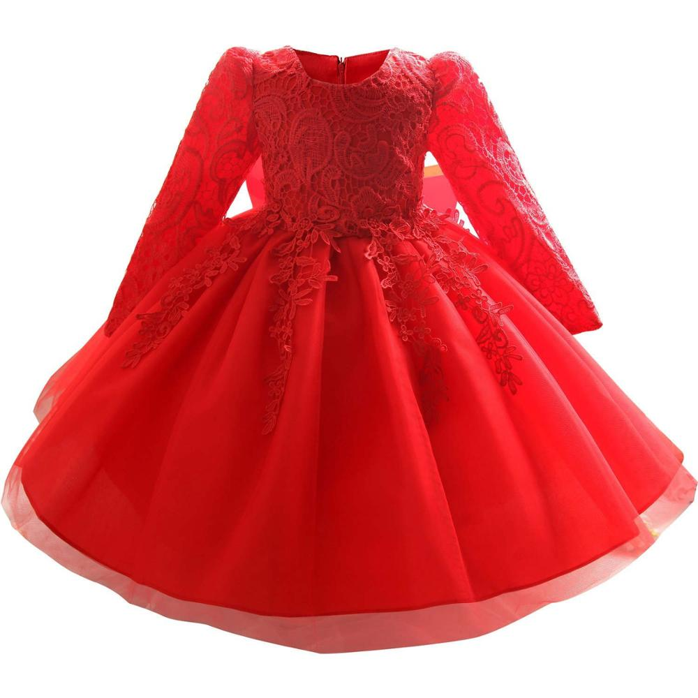 Toddler Girl Dress 2017 New Summer Newborn Baby Lace Long Sleeve Infant Girls Dresses Ball Gown O-neck  Flower Children Clothes toddler girl dresses chinese new year lace embroidery flowers long sleeve baby girl clothes a line red dress for party spring