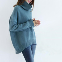 goat cashmere thick knit women fashion high collar long irregular hem pullover sweater solid color one&over size