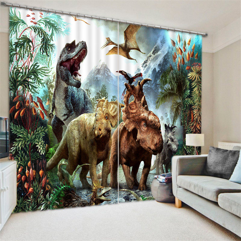 3D Window Curtain Dinosaur Print Luxury Blackout For Living Room Kids Bedroom Drapes Cortinas Rideaux Customized Size Pillowcase