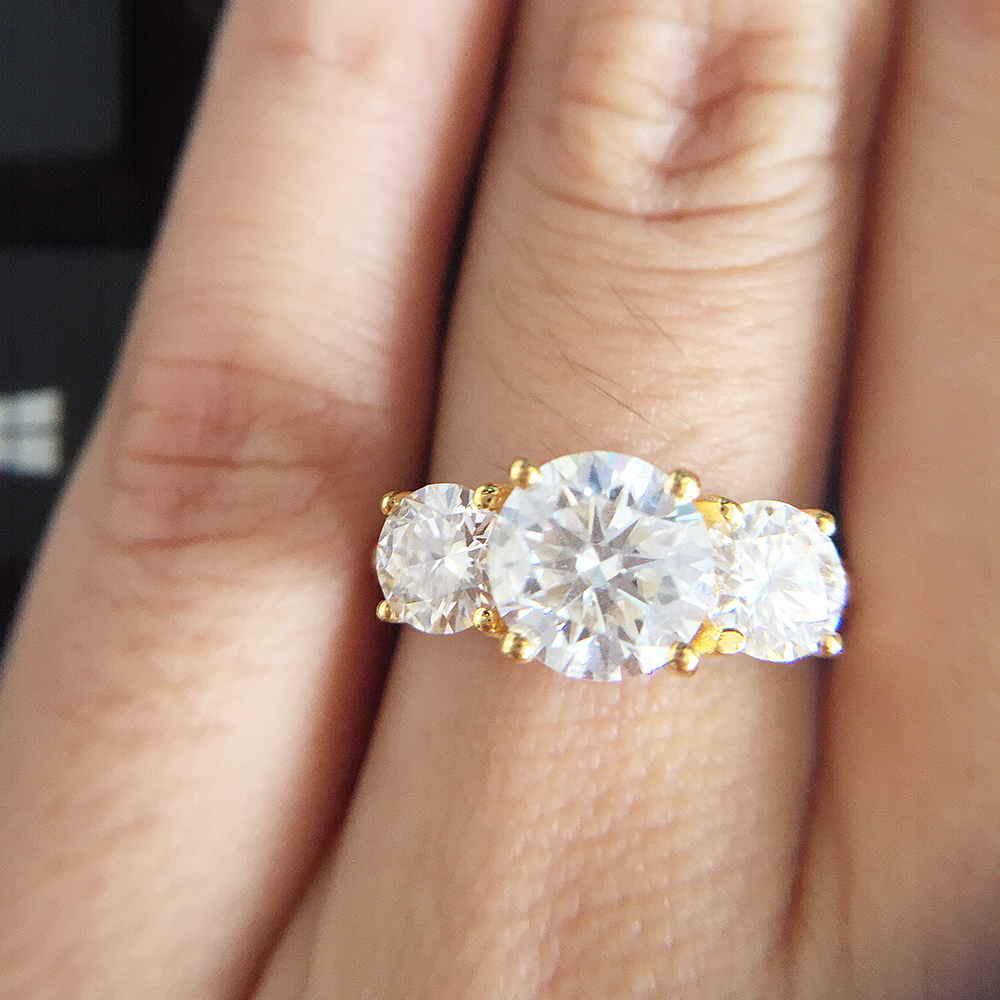 2.0ctw 6.5mm 4mm Test Positive Brilliant Cut Lab Grown Diamond Moissanite Ring Engagement Rings For Women Solid 14K Yellow Gold