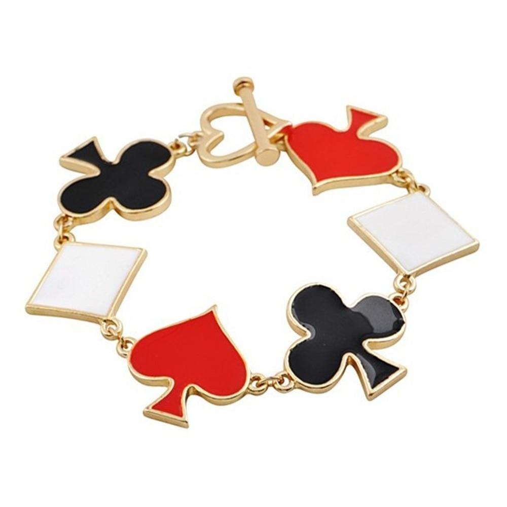 Metal Poker Cards Spade Club Heart Bangles Jewelry Fashion Friendship Bracelets