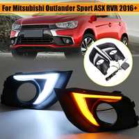 LED DRL Daytime Running Lights Turn Signal Lamp Dual Color Pair for Mitsubishi Outlander Sport ASX RVR 2016 2017 2018 2019
