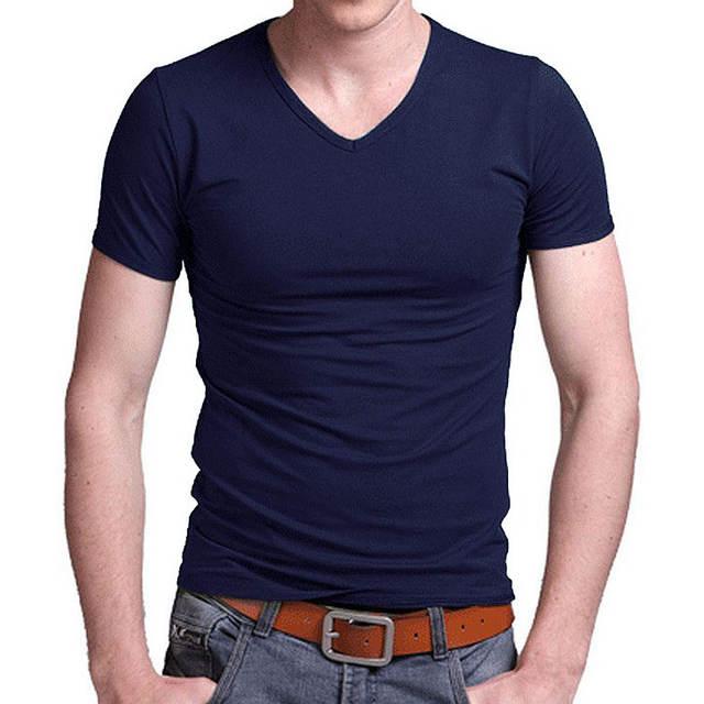 Free Shipping 2019 summer Hot Sale Cotton T shirt men's casual short sleeve V-neck T-shirts black/gray/green/white S-5XL MTS181