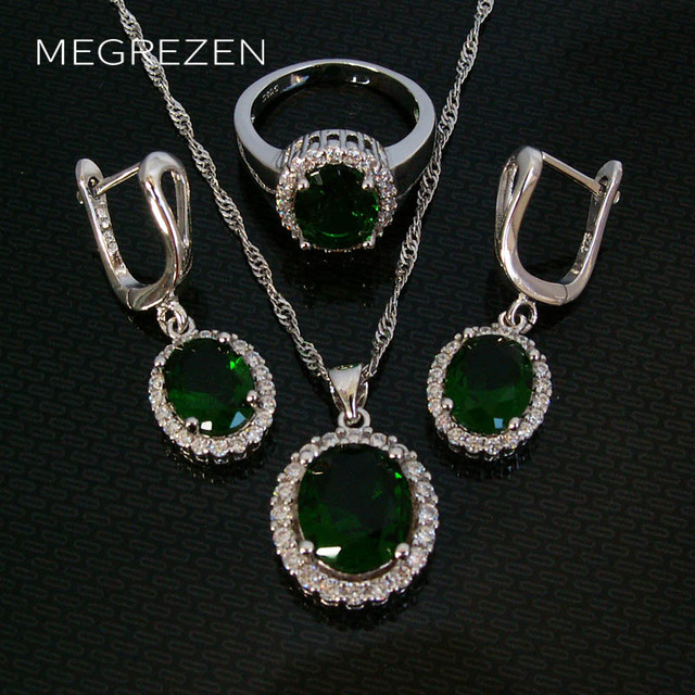 Fashion Green Jewelry Sets Wholesale Dubai Jewellery Set Crystal Necklace And Earrings Children Gifts For The New Year YS003-5