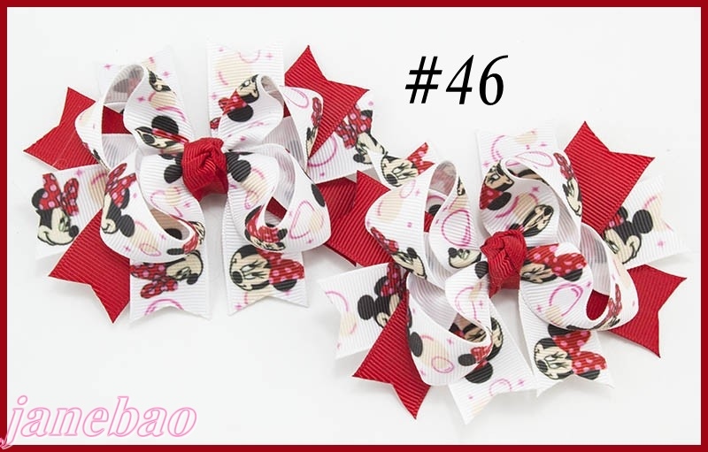 free shipping 20set 3 5 pigtail bows character hair bows a set of two inspired hair