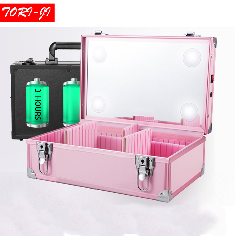 Tori-ji New Adjustable LED lighted Makeup Box Beauty Case with Mirror Storage Travel Portable bag 3 colors S цена 2017