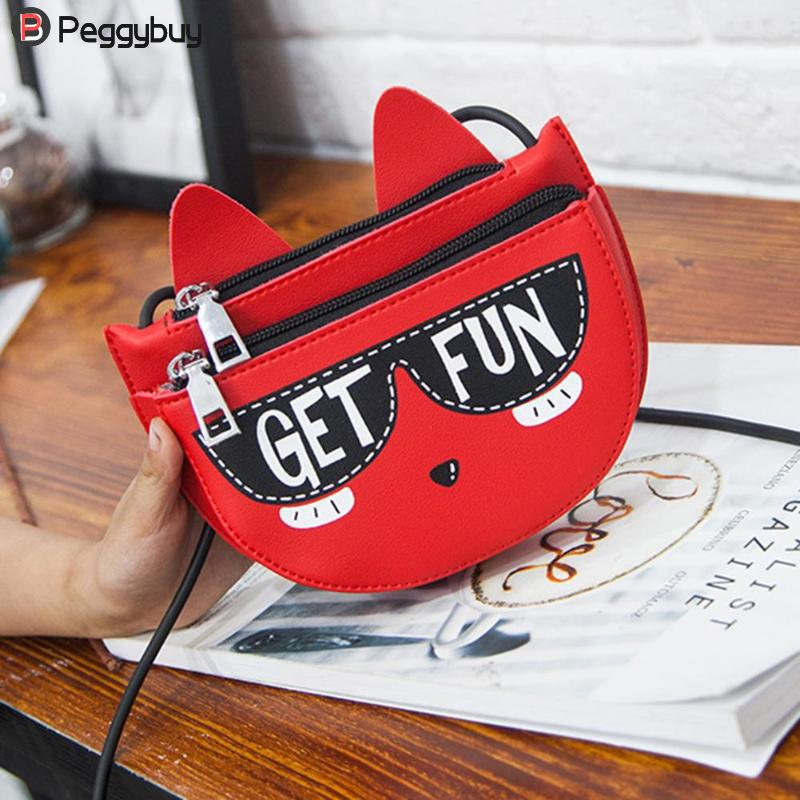 New Kids PU Leather Messenger Bag Wome Cute Cat Mini Bag Girl Shoulder Zipper Purse Fashion Cat Handbags Wallet Gift for Kids