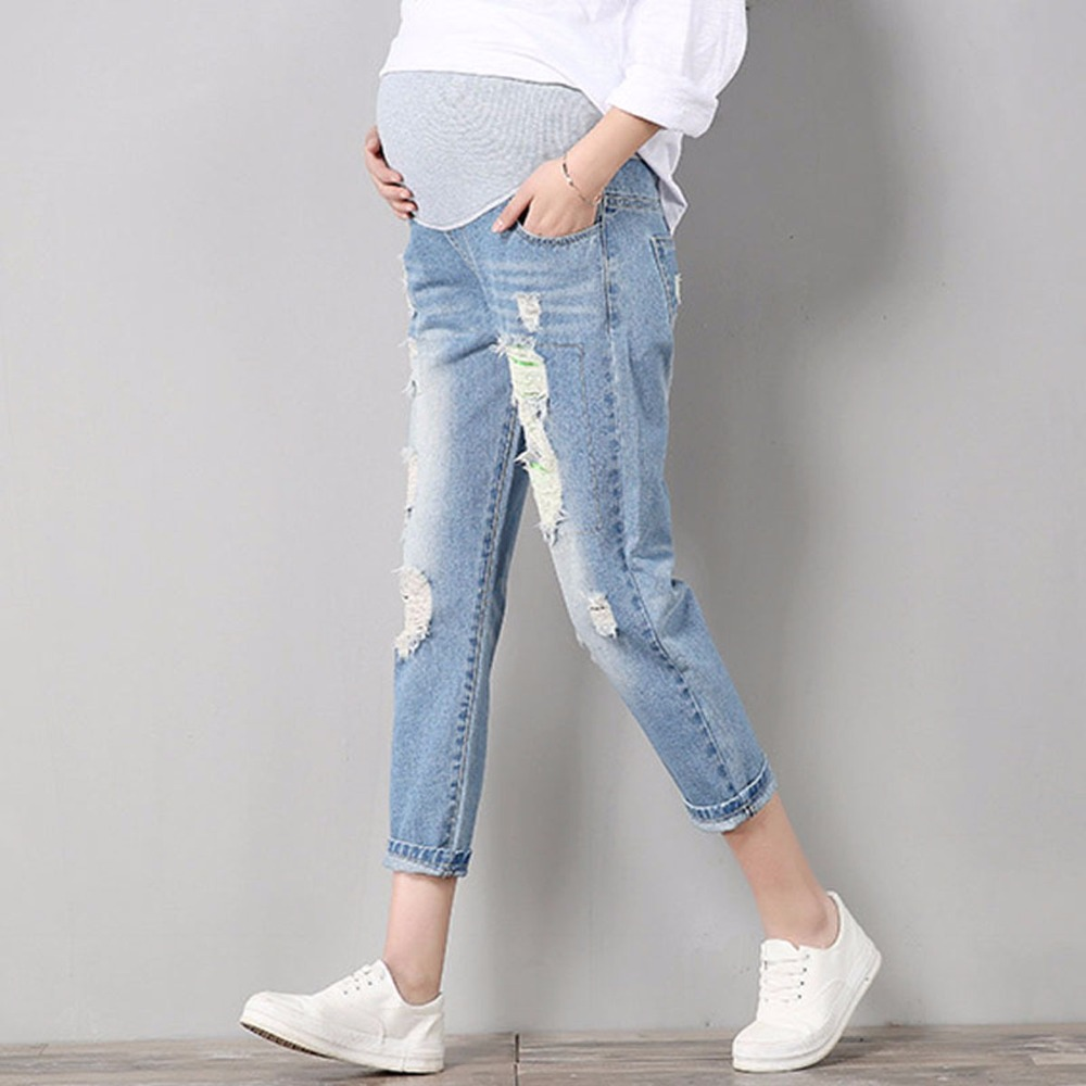 Jeans Maternity Comfortable Blue Cotton Denim Pants Pregnant Women Clothes Trousers Nursing Pregnancy Clothing Overalls High Kid