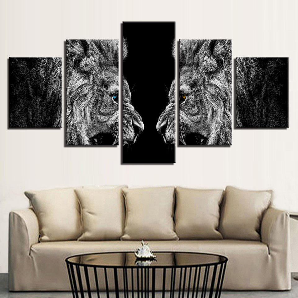 Home Decor HD Prints Canvas Posters Framework 5 Pieces Roaring Lions Mirror Paintings Wall Art Animal Pictures For Living Room