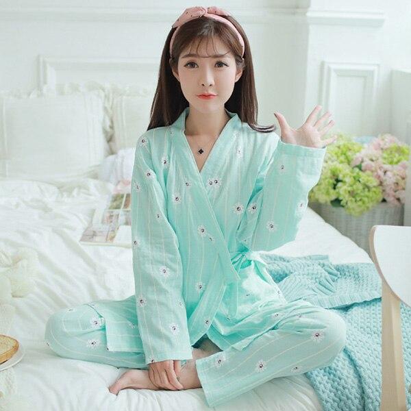 c3e0293197 Pengpious estilo coreano de algodón de lactancia traje de embarazada pijamas  de mujer de postparto de enfermería ropa de cuello en V largo lactancia ...