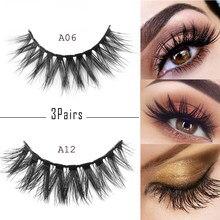 ec37dc8a236 3Pairs Reusable 3D Thick Cross Thick Long False Eyelashes Voluminous Wispy  Handmade Eye Lashes Extension Makeup Beauty Tools