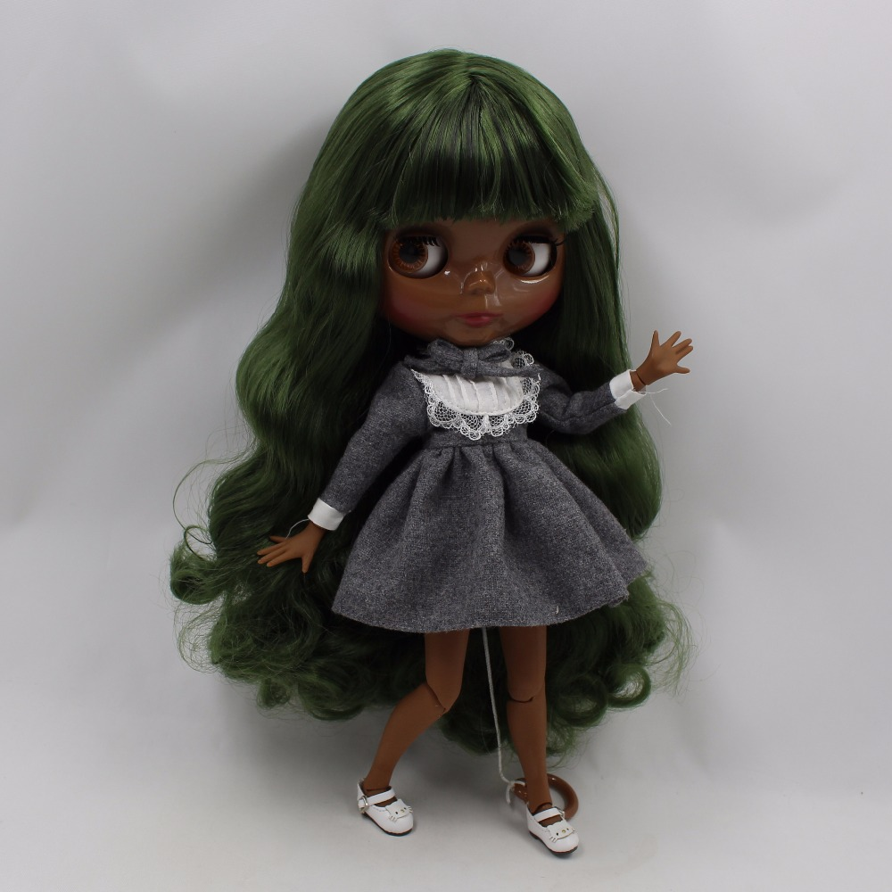 Neo Blythe Doll with Green Hair, Black skin, Shiny Face & Jointed Body 2