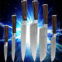 High Quality Kitchen Knives Six Piece Set Kitchenware 7Cr17stainless Steel Blade Laser Damascus Flowing Sand Stlye