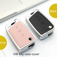 Luxury Diamond Key Shell Holder Remote Black Pink Car Key Case Cover For Volkswagen VW Golf
