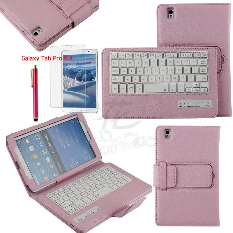 Specialized Removable Bluetooth Keyboard Case Smart Cover For Samsung Galaxy Tab Pro 8.4 T320 & Protective Screen Film &Pen Pink samsung keyboard cover ej cg930ubegru black
