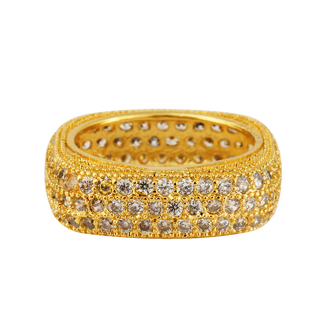 Hip Hop Bling Ice Out Full AAA Zircon Pave Women Rings Gold Silver Copper Color CZ Stone Round Rings for Women Fashion Jewelry