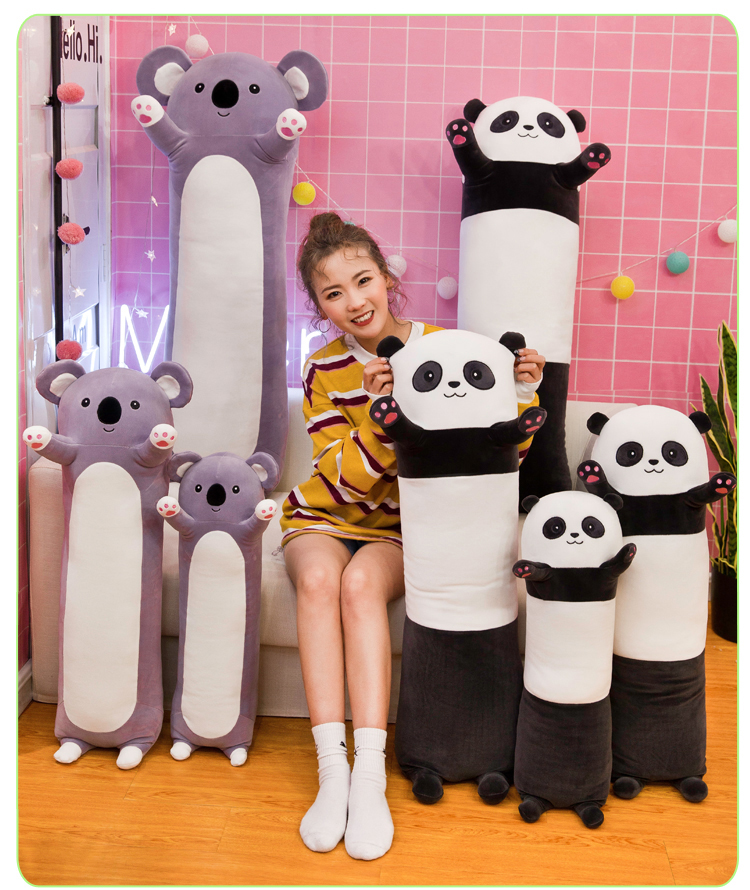 100% New Toy Lovely Cartoon Panda, Koala Plush Toy Down Cotton Soft Doll Creative Long Pillow Throw Pillow Birthday Gift W2188