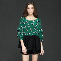 2018 женский натурального шелка блузка Рубашки Зеленый сезон: весна–лето Для женщин блузка шею печати Повседневное с рукавом бабочкой женск