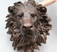 16Chinese Pure BRASS HSBC Lions Head Wall Hang Family Decor Art Sculpture Copper garden decoration Copper garden decoration