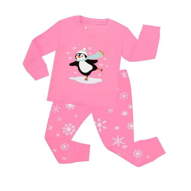 01a0cb005310 100 Cotton Baby Girls Christmas Pajamas Children Penguin Xmas Pink ...