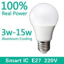 Светодиодные лампы Лампы E27 220 В-240 В лампа smart ic реальная Мощность 3 Вт 5 Вт 7 вт 9 Вт 12 Вт 15 Вт высокое Яркость лампада LED Bombillas