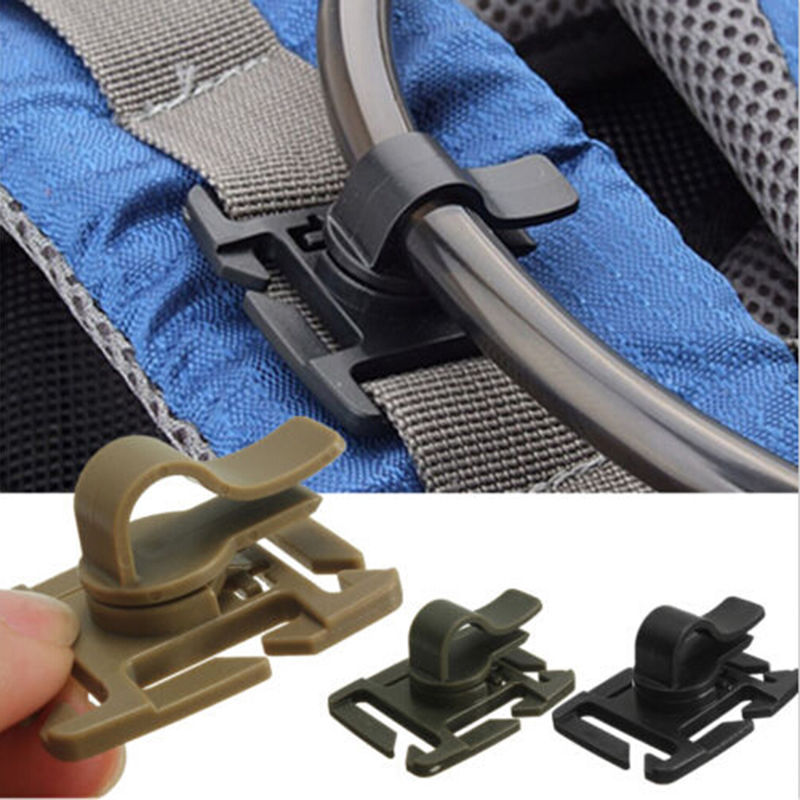 Drinking Tube Clip Rotatable Molle Hydration Bladder Drinking Tube Trap Hose Webbing Clip Molle Fits for Camelbak 2 PCS