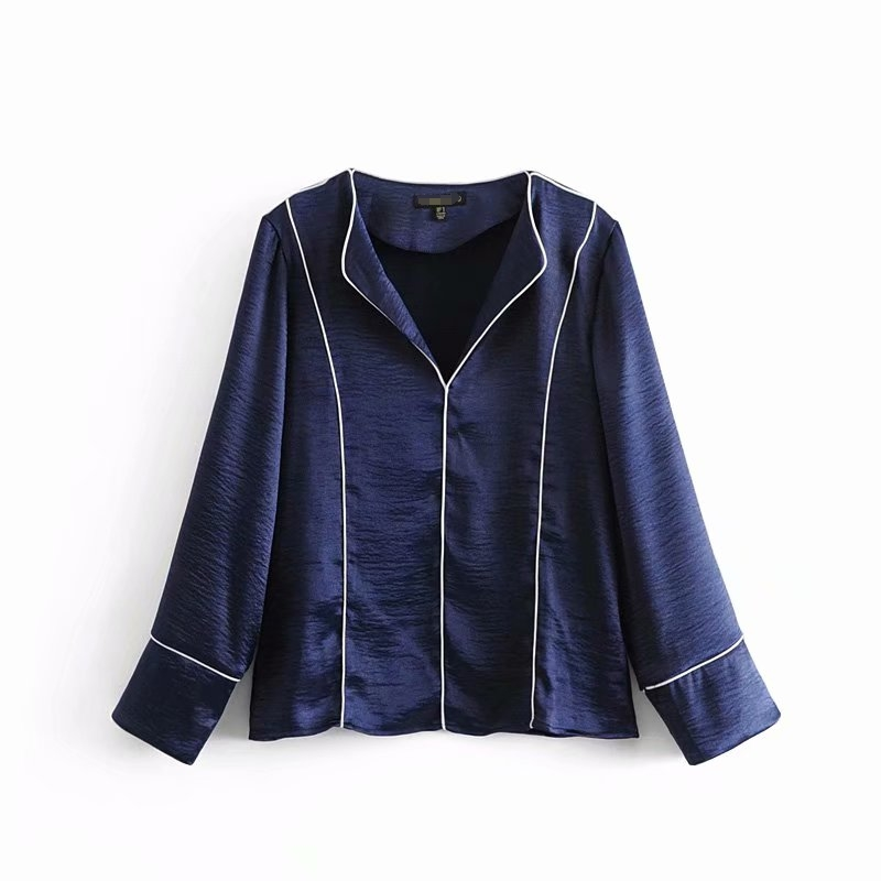 Pajama Style Fabric Women Blouse Contrast Edge Embellishment Blue