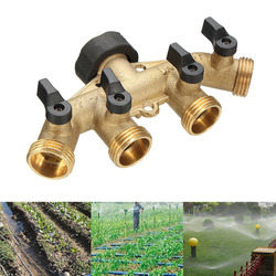 JX-LCLYL Brass Garden 4 Way Tap Connector Splitter 3/4'' Hose Pipe Switcher Nozzle