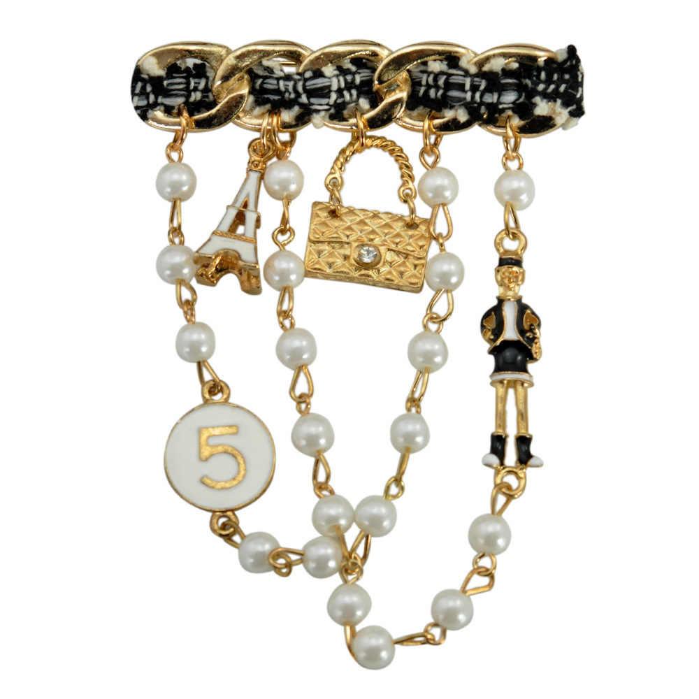 Cinkile Rantai Bentuk Meniru Mutiara Pin Bros Fashion Perhiasan untuk Wanita Kualitas Tinggi Cocok Tas Aksesoris Allah Hadiah Panas Dijual