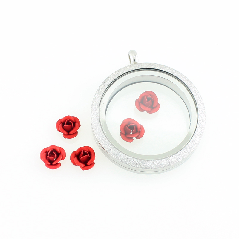 Red Poppy Flower Charm memory Locket Keyring Necklace Bracelet