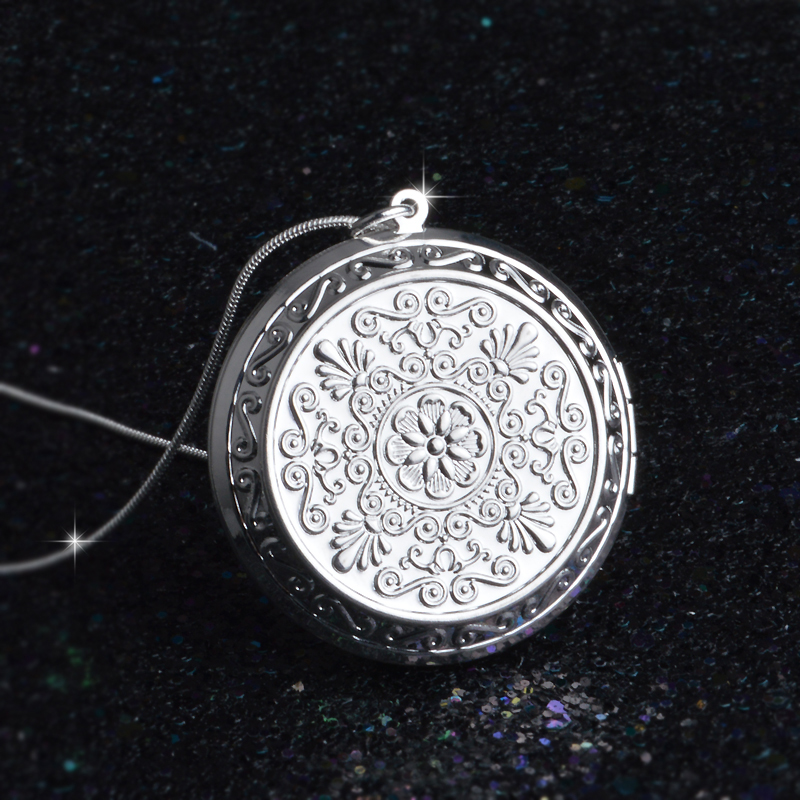 Creative 925 Sterling Silver Pocket Watches Pendant Photo Box Snake Chain Necklace Open and Close Retro Rose Flower Jewelry Gift