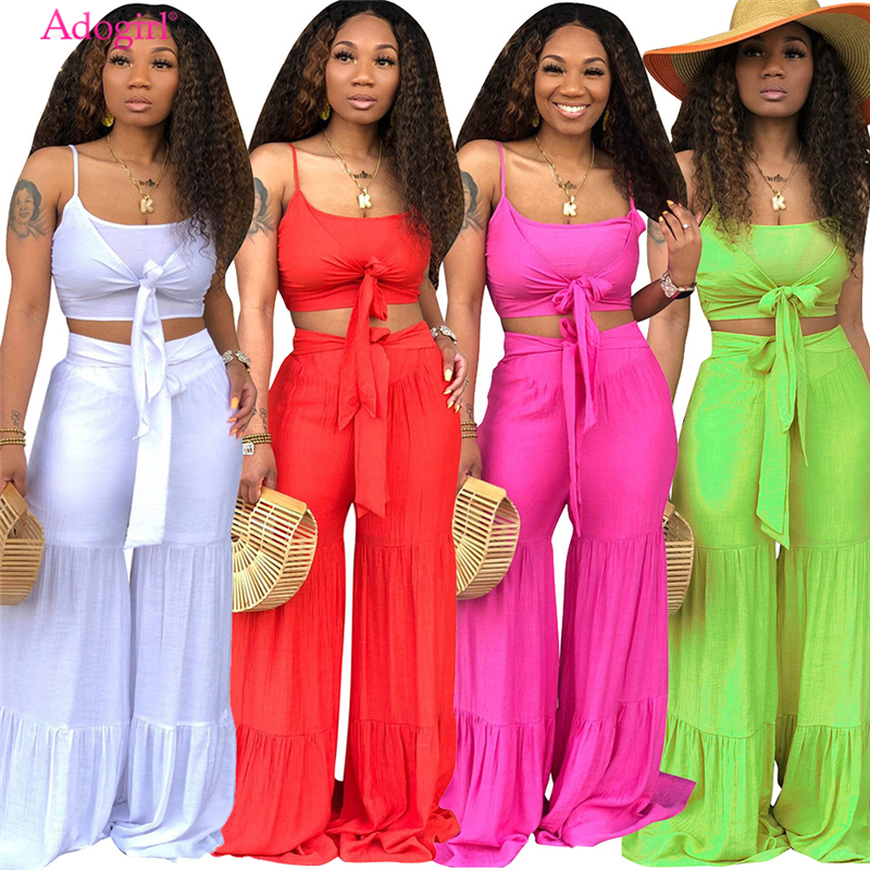 Adogirl Solid Women Summer Casual Two Piece Set Front Tie Spaghetti Straps Crop Top + Wide Leg Pants Holiday Beach Suit Outfits