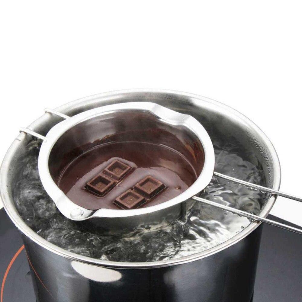 Нержавеющаясталь шоколадное масло Миалт расплава Ting чаша долго Ручка DIY Кондитерские Пособия по кулинарии десерт выпечка Кондитерские KKitchen инструмент